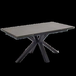 MCA furniture Esstisch Nagano mit Stirnauszug Gestell schwarz Tischplatte anthrazit aus Keramik/ Sicherheitsglas