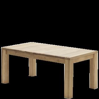 MCA Furniture Esstisch Anton in Eiche Bianco Massivholz geölt mit durchgehender Lamelle und Tischkanten mit sichtbaren Massivholzzinken und zwei Einlegeplatten Tischlänge wählbar Tisch für Ihr Wohn- oder Esszimmer