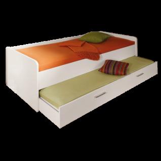 Priess Riva Jugendbett mit Doppelliege ausziehbar als Gästebett Farbe Lichtweiss