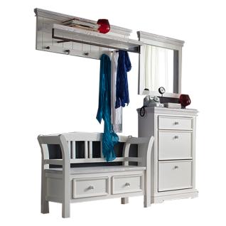 MCA furniture Garderoben-Set 2 Opus Art.Nr. OPU08K02 aus Recycle - Kiefer weiß / white sanded Massivholz 4-teilig bestehend aus einem Spiegel, einer Garderobenleiste, einem Schuhschrank und einer Bank Garderobenkombination für Ihren Flur