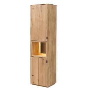 Quadrato Lissabon Vitrine 40523010 in Wildeiche bianco Massivholz mit zwei Türen und einem offenen Fach