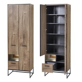 Wohn-Concept Manhattan Garderobenschrank 6008VV01 mit Schubkasten und Türen in Haveleiche Cognac Nachbildung und Metall Anthrazit mit Beleuchtung - Vorschau 2