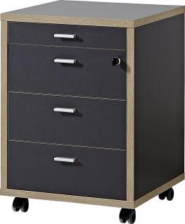 Germania Rollcontainer HELSINKI mit 4 Schubladenfächern, Schublade abschließbar, Steggriffe aus Metall, für Homeoffice oder Büro