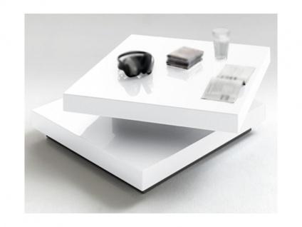 MCA Furniture Hugo Couchtisch Art.Nr.: 59039W4 in weiß Lack Hochglanz mit drehbarer Deckplatte für Ihr Wohnzimmer