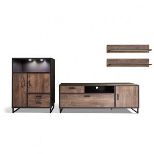 MCA furniture Wohnkombination 2 Halifax Art.Nr. HAL1WW02 Front Eiche Barrique Melamin Nachbildung Korpus cosmos grey Nachbildung Kufengestell