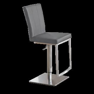 Niehoff Barstuhl BS11-02 mit Lift Funktion Gestell Edelstahl gebürstet Bodenplatte viereckig mit wählbarem Bezug Barstuhl für Küche oder Partyraum