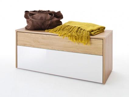 MCA furniture Garderobenbank Marlisa mit Front weiß Hochglanz, Absetzung 3D Optik Winchester Eiche NG und Korpus Winchester Eiche NB