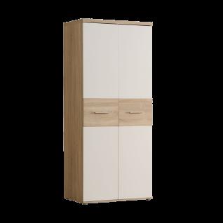 Forte Winnie Drehtürenkleiderschrank WNS92 für Babyzimmer oder Jugendzimmer 2 Türen im Dekor Sonoma Eiche Nachbildung kombiniert mit Weiß