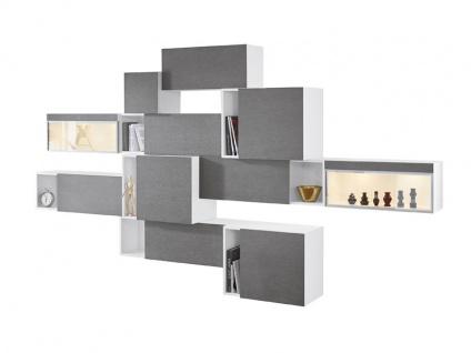 MWA Aktuell Luana Kombination 10-88-W2-228 Korpus weiß lackiert Front Keramik Basalt Beleuchtung optional wählbar ideal für Ihr Wohnzimmer oder Esszimmer