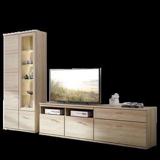 Stralsunder Just Wohnkombination EB31508 vierteilige Wohnwand mit Säule Vitrine TV-Unterteil und Unterschrank Kombination für Wohnzimmer Wandregale und Beleuchtung wählbar