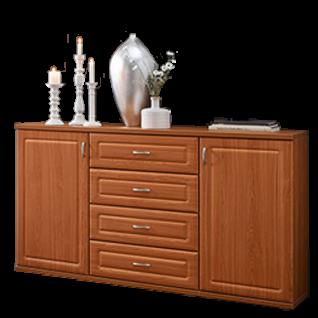 Stralsunder Jasmund Sideboard C15063 dreiteilige Kommode für Wohnzimmer oder Esszimmer mit zwei Türen und vier Schubkästen Dekor und Griffe wählbar