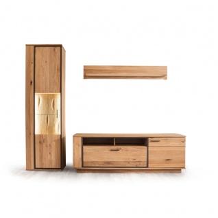 MCA furniture Wohnwand Campinas Art.Nr. CAP17W03 Front Asteiche Bianco Massivholz mit durchgehenden Lamellen Korpus Asteiche Bianco furniert geölt