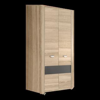 Forte Yoop Jugendzimmer Eck-Kleiderschrank mit 2 Türen in Sonoma Eiche kombiniert mit grau anthrazit