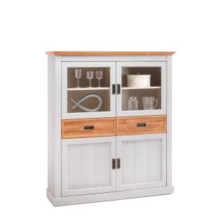 MCA Furniture Cleveland Highboard T05 für Ihr Wohnzimmer oder Esszimmer Anrichte im Landhausstil mit zwei Türen zwei Glastüren und zwei Schubkästen Korpus und Front Dekor new white mit Absetzungen in Wildeiche Dekor
