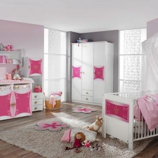 Rauch Packs Kate Babyzimmer 3-teilig bestehend aus Drehtürenschrank Wickelkommode Babybett in alpinweiß mit Absetzung Printdekor Prinzessin - Vorschau 2