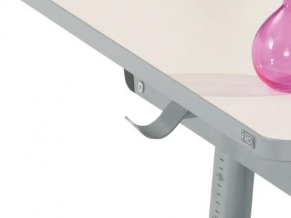 Paidi Schoolworld Falko Schreibtisch Plattenausführung Ecru Gestell silberfarbig optional mit Anbau 75 und Schubkastenvollauszug - Vorschau 4