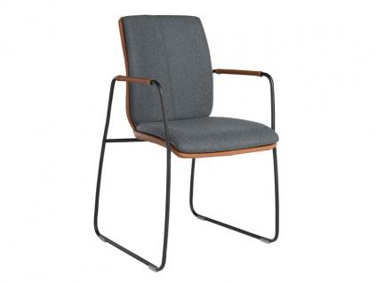 Bert Plantagie Stuhl Tara Komfort 821C mit Schlittengestell und Bi-Color-Mattenpolsterung Polsterstuhl für Esszimmer Esszimmerstuhl Gestellausführung und Bezug in Leder oder Stoff wählbar