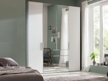 Nolte Express Möbel One 210 Drehtürenschrank 4-türig mit 3 Schubkästen Türen außen in Korpusfarbe und die mittleren Türen und die Schubkästen mit Spiegelauflage