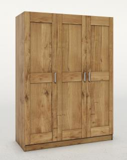 ELFO Kleiderschrank TONI 3 Wildeiche teilmassiv, 3türiger Schrank, Zubehör optional, Schlafzimmerschrank mit 3 Einlegeböden, 1 Hutboden, 1 Kleiderstange, durchgehende Lamelle an der Front, viel Stauraum für Ihr Schlafzimmer