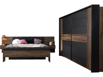 FORTE Bellevue Schlafzimmer 4-teiliges Set mit Bettanlage ca. 180x200cm inkl. zwei Nachtkommoden Sitzbank Schwebetürrenschrank und Passepartout-Rahmen Komplett-Schlafzimmer im Dekor Korpus Schlammeiche Nachbildung Front Schlammeiche Nachbildung kombiniert