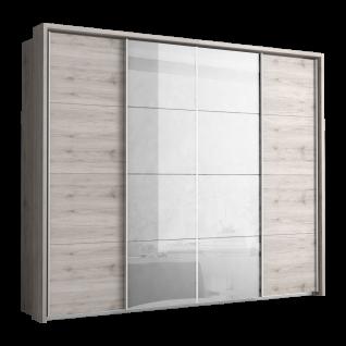 Forte Sarina Kleiderschrank SRXS44424 Schwebetürenschrank mit zwei Türen und zwei Spiegeltüren Schrank für Schlafzimmer oder Jugendzimmer mit Korpus und Front in Sandeiche Dekor Innenfarbe Grau