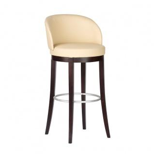 DKK Klose Barhocker 101143 mit gepolsterter Sitzschale Gestell Massivholz in verschiedenen Beiztönen wählbar Barstuhl für Esszimmer Bar und Partyraum Bezug wählbar