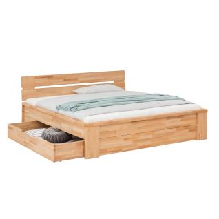 Woodlive Bett Cassetta in Kernbuche oder Wildeiche Massivholz natur geölt Liegefläche wählbar für Ihr Schlafzimmer oder Gästezimmer