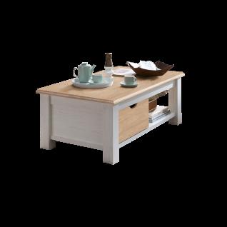 Wohn-Concept Lima Couchtisch 02 ca. 124 x 69 cm in Pinie Hell Oberboden MDF Farbe wählbar Wohnzimmertisch mit Holzboden und Schubkasten für Ihr Wohnzimmer