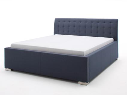 Meise Möbel LA FINCA Polsterbett mit Stoffbezug CHARON ohne Bettkasten und mit gestepptem Kopfteil Liegefläche und Farbe wählbar Metallfüße gebürstet in Edelstahloptik