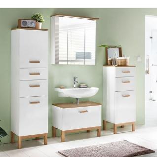 W.Schildmeyer Möbel Capri Badmöbel Set 4-tlg. für Badezimmer mit Spiegelschrank Highboard Hochschrank und Waschbeckenunterschrank - Vorschau 2