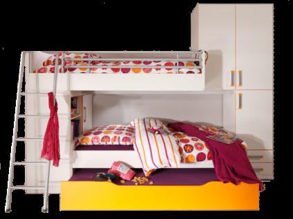 Prenneis Enjoy Plus Jugendzimmer Vorschlagskombination Set-Nr. 3426 mit Leiter Regalen Podestbett und Kastenbett in der Ausführung Korpus und Front in weiss mit Griffen in silber und mandarine optional mit zusätzlichem Ausziehbett