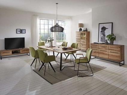 Niehoff Time sehenswertes Highboard 2444 in Balkeneiche natur Massivholz geölt mit drei Schubkästen und drei Türen Beleuchtung wählbar ideal für Ihr Wohnzimmer - Vorschau 2