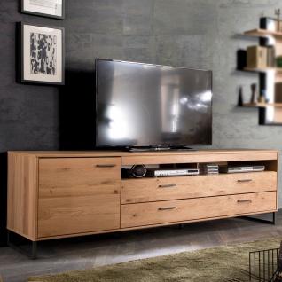 MCA Furniture Portland TV-Element POR17T32 für Ihr Wohnzimmer Lowboard im Industrial Look mit einer Tür zwei Schubkästen und zwei offenen Fächern TV-Unterteil in Asteiche bianco teilmassiv mit Fronten aus Massivholz und Füßen aus Metall Anthrazit lackiert - Vorschau 3