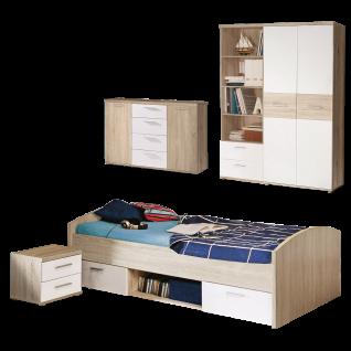 Forte Winnie Jugendzimmer 5-teilig Bett mit 2 Schubkästen Nachtkommode Regal Kleiderschrank und Kommode in Sonoma Eiche kombiniert mit Uni weiss