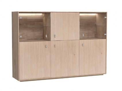 Dkk Klose Kollektion K32 Kastenmöbel Highboard mit 6 Türen davon 2 Glastüren Massivholz Beimöbel für Esszimmer Holzfarbton wählbar