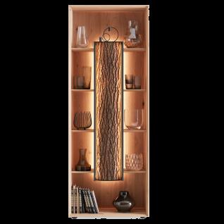 Hartmann Runa Standvitrine 0085 mit Holzböden aus Massivholz Kerneiche natur gebürstet Applikation Rinde Beleuchtung optional wählbar