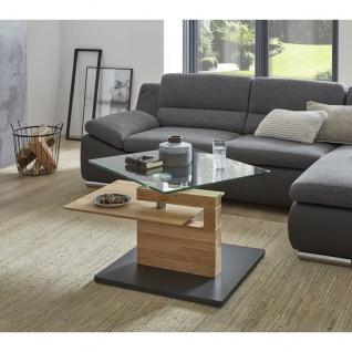 Vierhaus Couchtisch 7889-WEI Wildeiche Massivholz Bodenplatte MDF mit Schliffoptik perlsilberfarbig mit Rollen - Vorschau 4