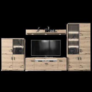 IDEAL-Möbel Brilon Kombination 100 vierteilige Wohnkombination mit Fronten in Alteiche Lamelle Massivholz geölt Wohnwand mit TV-Unterteil Vitrine und Highboard für Wohnzimmer Beleuchtung wählbar
