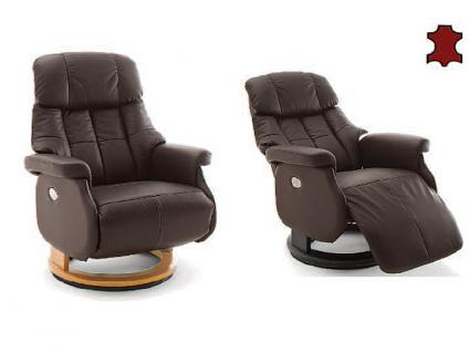 MCA furniture Calgary Relaxsessel XL Comfort elektrisch Bezug braun Gestell und Drehteller aus Formholz Gestellfarbe wählbar
