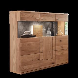 Ideal-Möbel Carora Highboard Type 17 in Alteiche teilmassiv mit Vitrinenrückwand in Schiefer Optik für Ihr Wohnzimmer oder Esszimmer