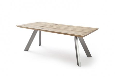 MCA 4-Fuß-Tisch Milton Tischplatte ca. 220 x 100 cm Wildeiche Massivholz geölt mit Gebrauchsspuren für Ihr Esszimmer oder Wohnzimmer