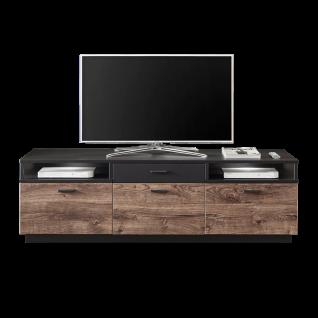 Ideal-Möbel Bacoor Lowboard 20 mit drei Türen einem Schubkasten und zwei Fächern Dekor Eiche Ribbeck Cognac und Cosmos Grey Melamin mit Stahlprofil