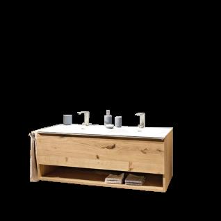Voglauer V-Alpin Waschbeckenunterschrank mit Doppelwaschtisch und Handtuchhalter Korpus und Front Alteiche rustiko echtholzfurniert