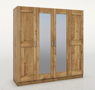 ELFO Kleiderschrank TONI 4S Wildeiche teilmassiv, 4türiger Schrank, 2 Mitteltüren mit Spiegel, Schlafzimmerschrank mit 6 Einlegeböden, 1 Hutboden, 1 Kleiderstange, Zubehör optional, durchgehende Lamelle an der Front, viel Stauraum für Ihr Schlafzimmer