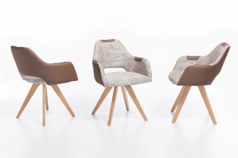 Standard Furniture Polstersessel Rimini mit Sitzschale F2 hinten offen für Esszimmer oder Wohnzimmer, Bezug zum Teil mit Kunstleder, auch unifarben erhältlich, verschiedene Gestellarten wählbar - Vorschau 2