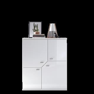Ideal-Möbel Taviano Highboard Type 06 moderne Anrichte für Ihr Wohnzimmer oder Essimmer mit vier Türen Ausführung Weiß mit Hochglanzfronten