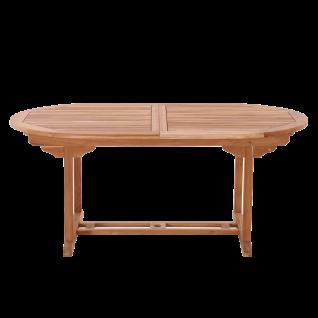 Möbilia Gartenmöbel Gartentisch oval ausziehbar ca. 180 bis 240cm Massivholztisch aus Teakholz für Garten und Terasse