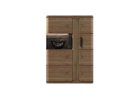 IDEAL-Möbel Vitrine Harmattan Type 02 moderne teilmassive Standvitrine mit 1 Holztür und 1 Glastür für Ihr Wohnzimmer oder Esszimmer Korpus Alteiche foliert Front Alteiche Lamelle Massivholz geölt