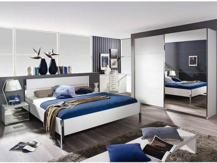 Rauch Packs Moita Schlafzimmer Schwebetürenschrank, Bett wahlweise mit Nachttische, Front und Korpus in alpinweiß, Absetzung in Lederoptik weiß