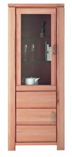 ELFO Vitrine GRAZ mit 1 Holztür, 1 Tür mit Glaseinsatz, Türen rechts oder links anschlagbar, Beimöbel Kernbuche Massivholz geölt, Glasschrank Art. Nr. 6960, viel Stauraum für Ihr Gästezimmer oder Wohnzimmer